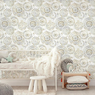 Bohemian Peel and Stick Wallpaper tan roomset