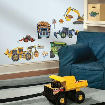Construction Vehicles Wall Decals roomset