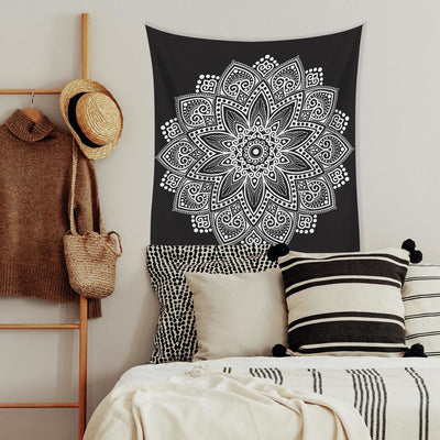 Black Mandala Small Tapestry roomset