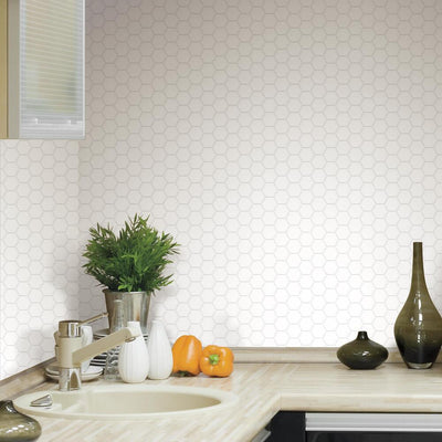 Pearl Hexagon Tile Peel and Stick Backsplashroomset