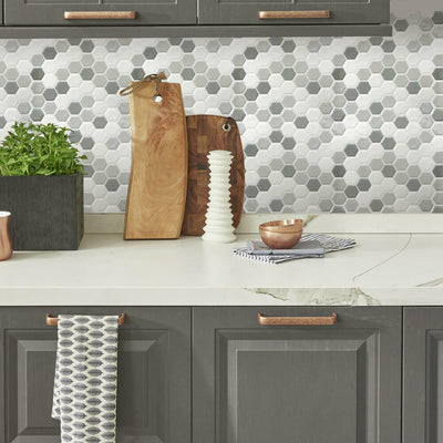 Gray Hexagon Tile Peel and Stick Backsplash roomset 3