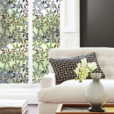 Stained Glass Leaves Window Film roomset