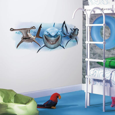 Disney Pixar Finding Nemo Sharks Giant Wall Decal roomset 2