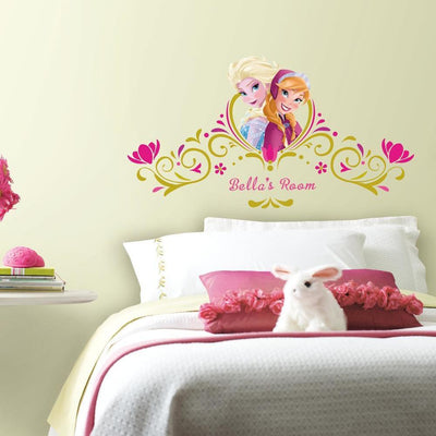 Disney Frozen Spring Time Headboard Wall Decals With Personalization roomset