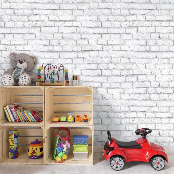 Accent A Kids Space With RMK11237WP White Brick Peel And Stick Wallpaper