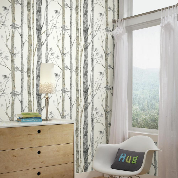 Accent A Room With RMK9047WP Birch Tree Peel And Stick Wallpaper