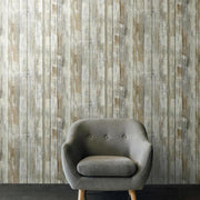 Create An Accent Wall With RMK9050WP Distressed Wood Wallpaper