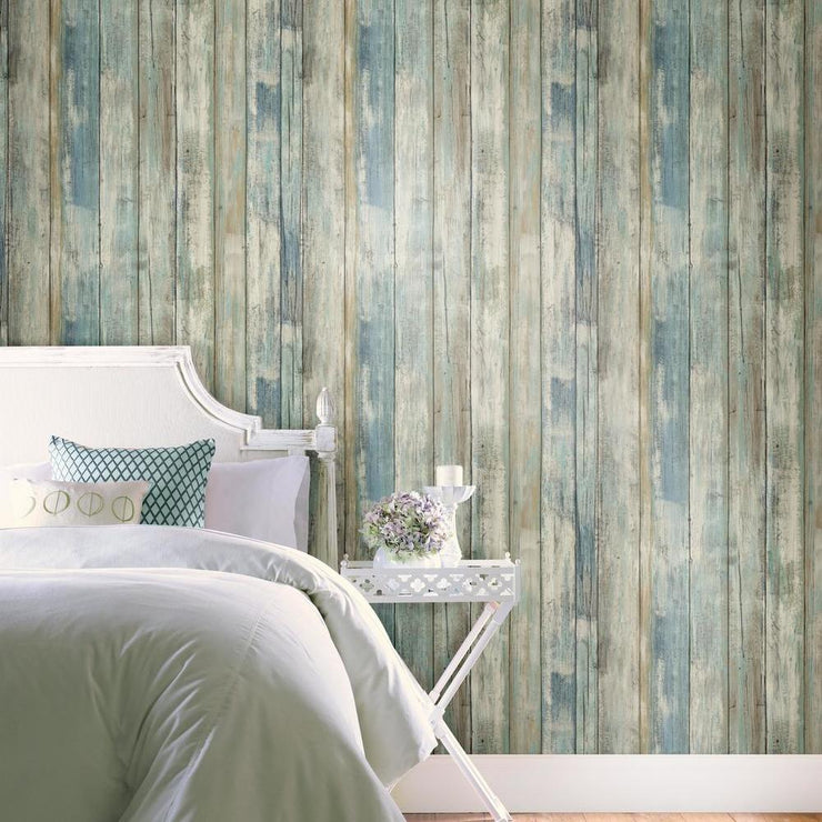 Decorate A Bedroom With RMK9052WP Distressed Wood Wallpaper
