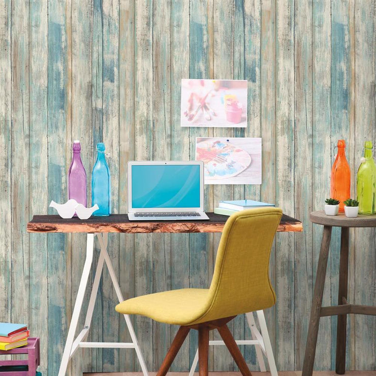 Decorate A Home Office With RMK9052WP Distressed Wood Wallpaper