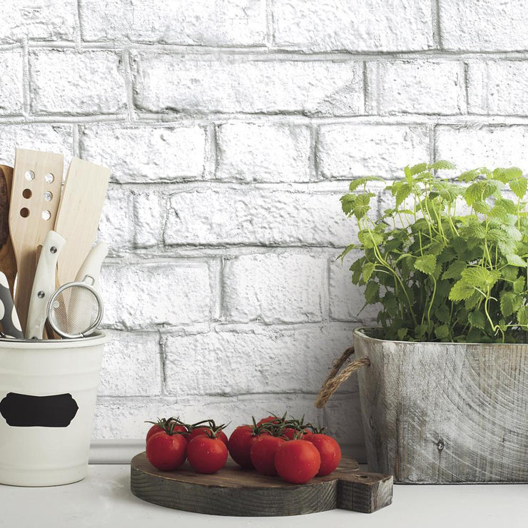 Decorate A Kitchen With RMK11237WP White Brick Peel And Stick Wallpaper