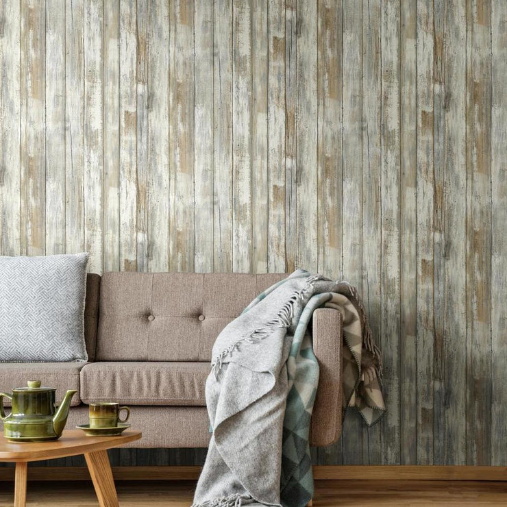 Decorate A Living Room With RMK9050WP Distressed Wood Wallpaper