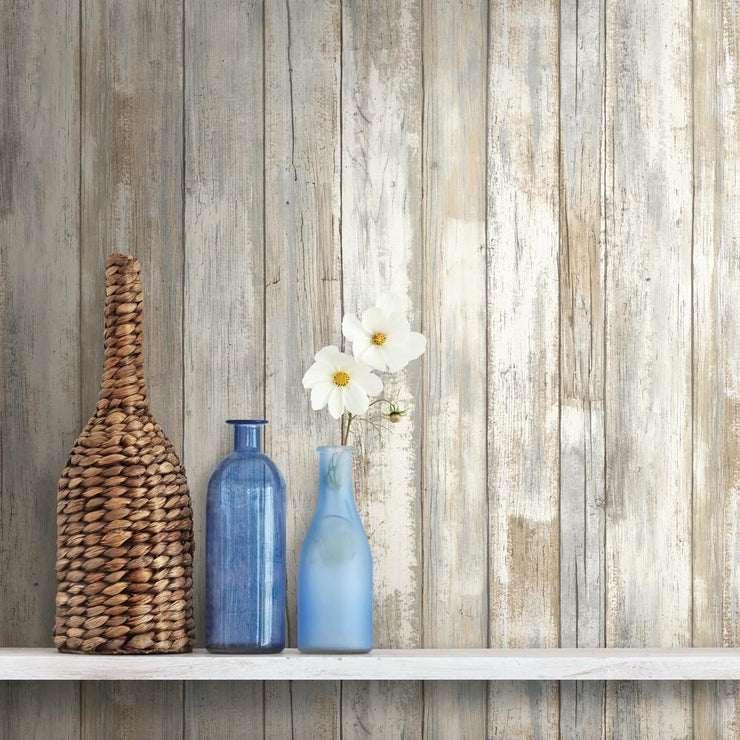 Decorate With RMK9050WP Distressed Wood Wallpaper
