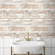 Update A Bathroom With RMK9050WP Distressed Wood Wallpaper