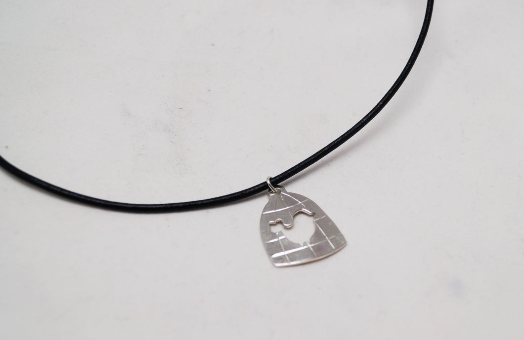 Wingless Bird pendant - deluxe #2 - with black leather necklace