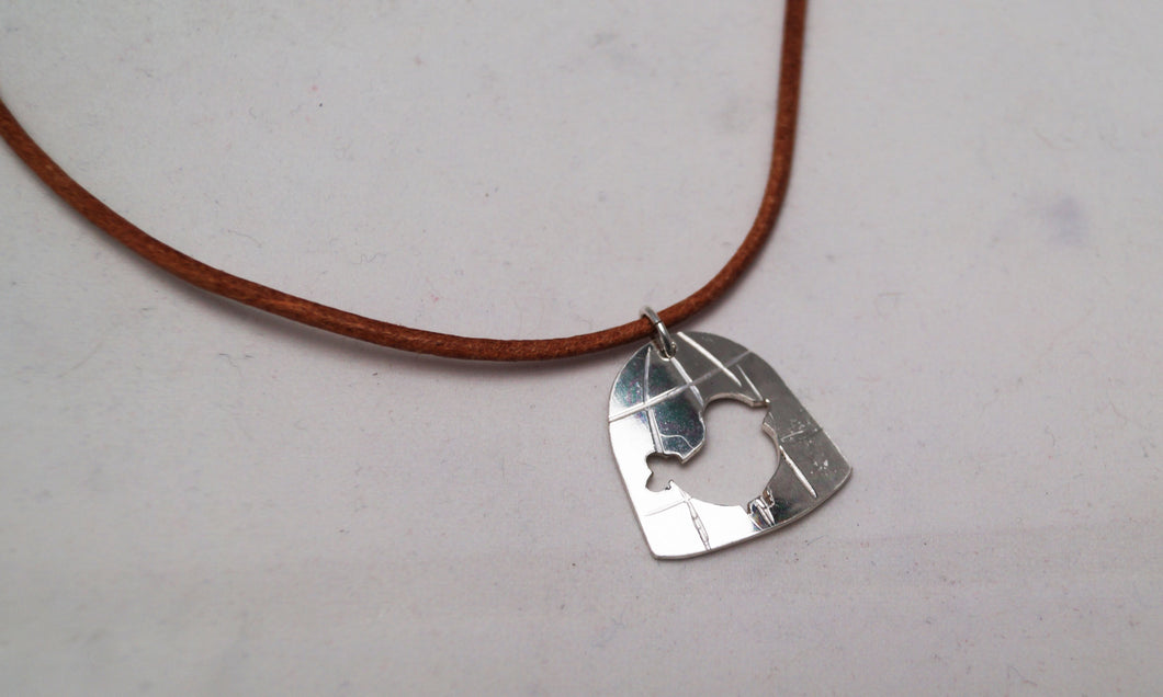 Wingless Bird pendant - simple - with brown leather necklace
