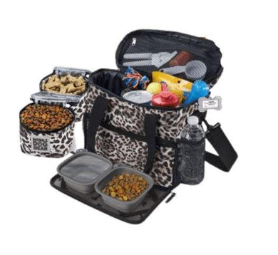 Leopard print on dog travel bag for small dogs.