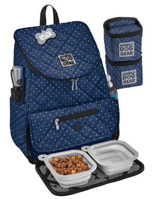 Blue backpack with white dots for carrying dog food, treats and accessories. Available from allgoodpetsupplies.com
