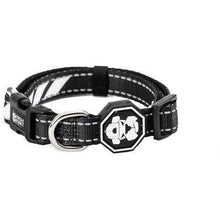 Load image into Gallery viewer, Dog Collar. Black with white trim. Street wear for dogs by Fresh Pawz.