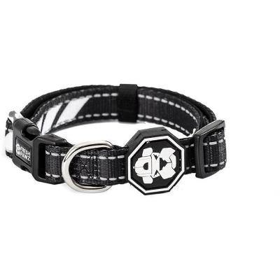Dog Collar. Black with white trim. Street wear for dogs by Fresh Pawz.