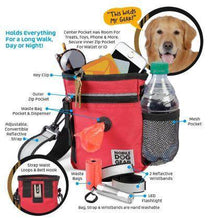 Load image into Gallery viewer, Day and night dog walking bag features