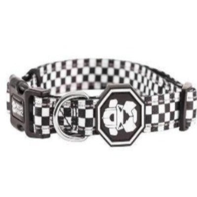 Checkerboard style collar to go with the Checkerboard dog leash. Available at allgoodpetsupplies.com