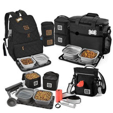 Load image into Gallery viewer, Dog travel bag bundle featuring 4 top selling dog travel bags, all in black.