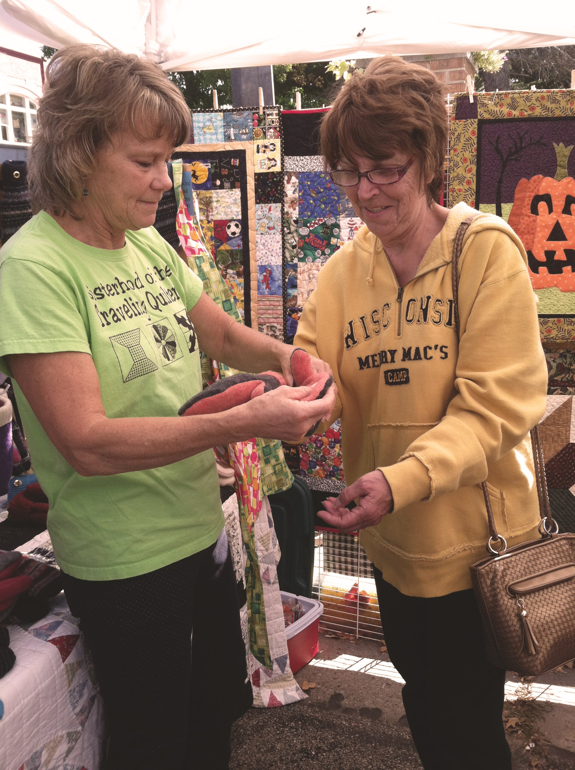 Deb Selling MIttens at a Craft Fair
