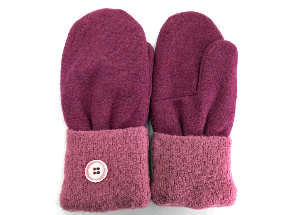 Pink Merino Wool Mittens - Medium - 1633