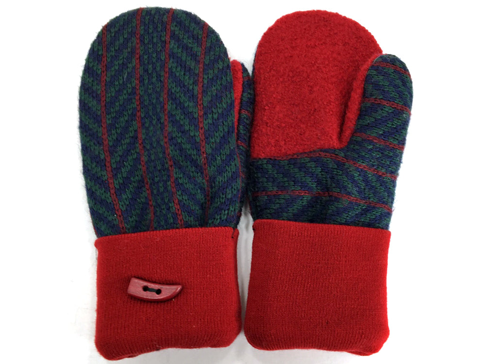 Red-Blue Merino Wool Mittens - Medium - 1637