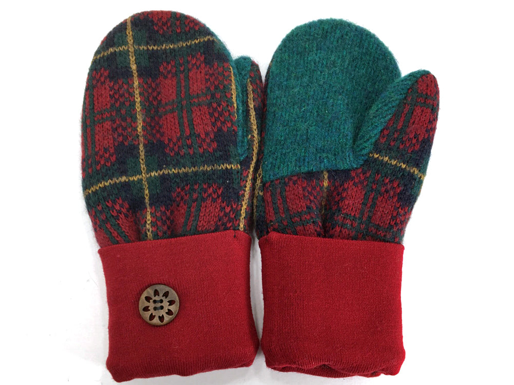Red-Green Merino Wool Mittens - Medium - 1639
