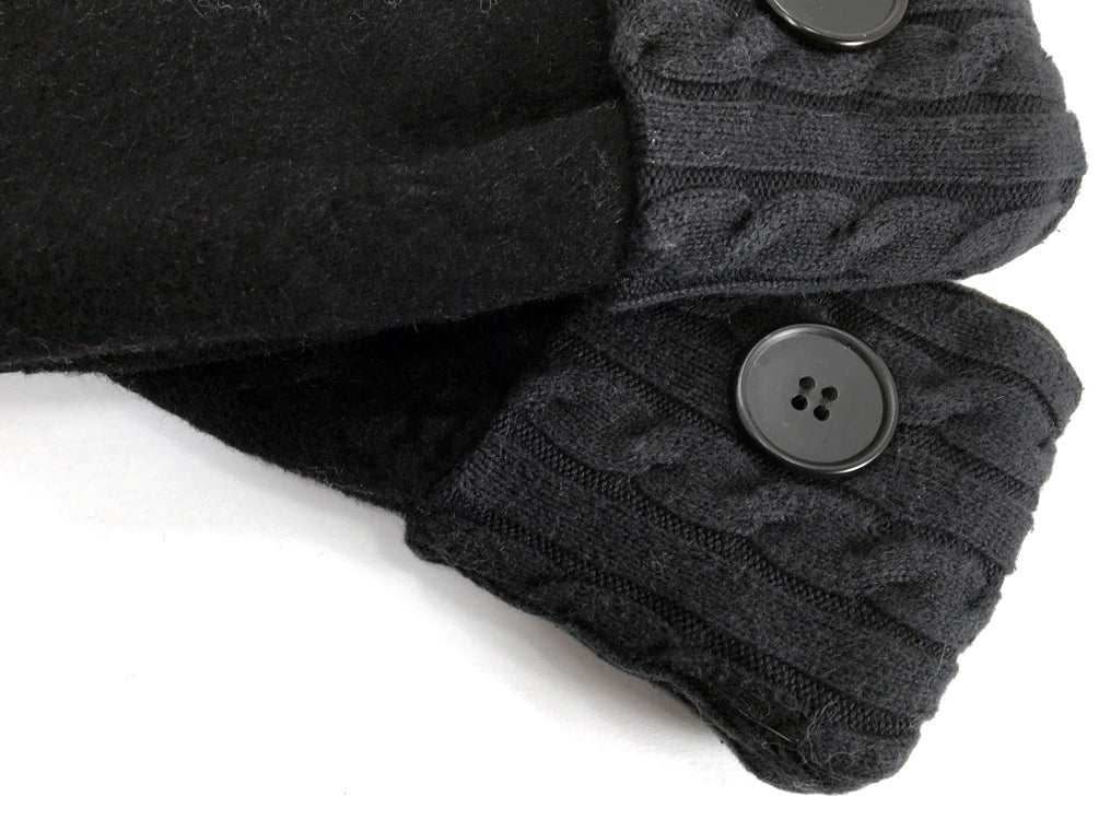 Black Merino Wool Mittens - Medium - 1644 - The Mitten Company