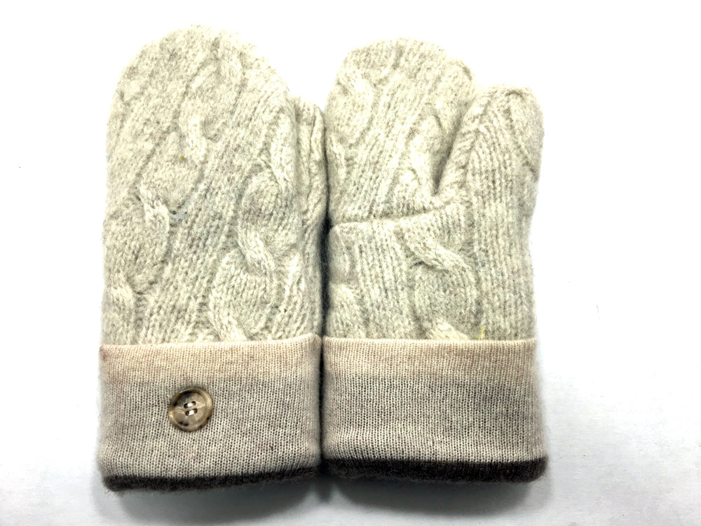 White Wool Mittens - Medium - 1645