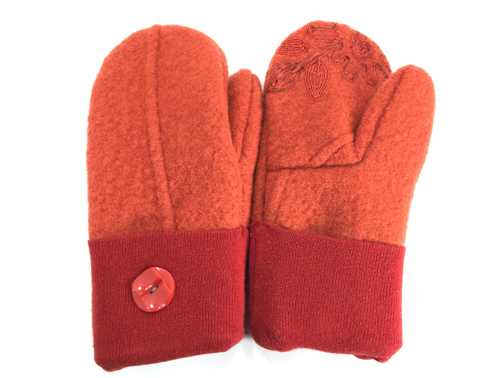 Orange-Red Boiled Wool Mittens - Medium - 1646-Womens-The Mitten Company