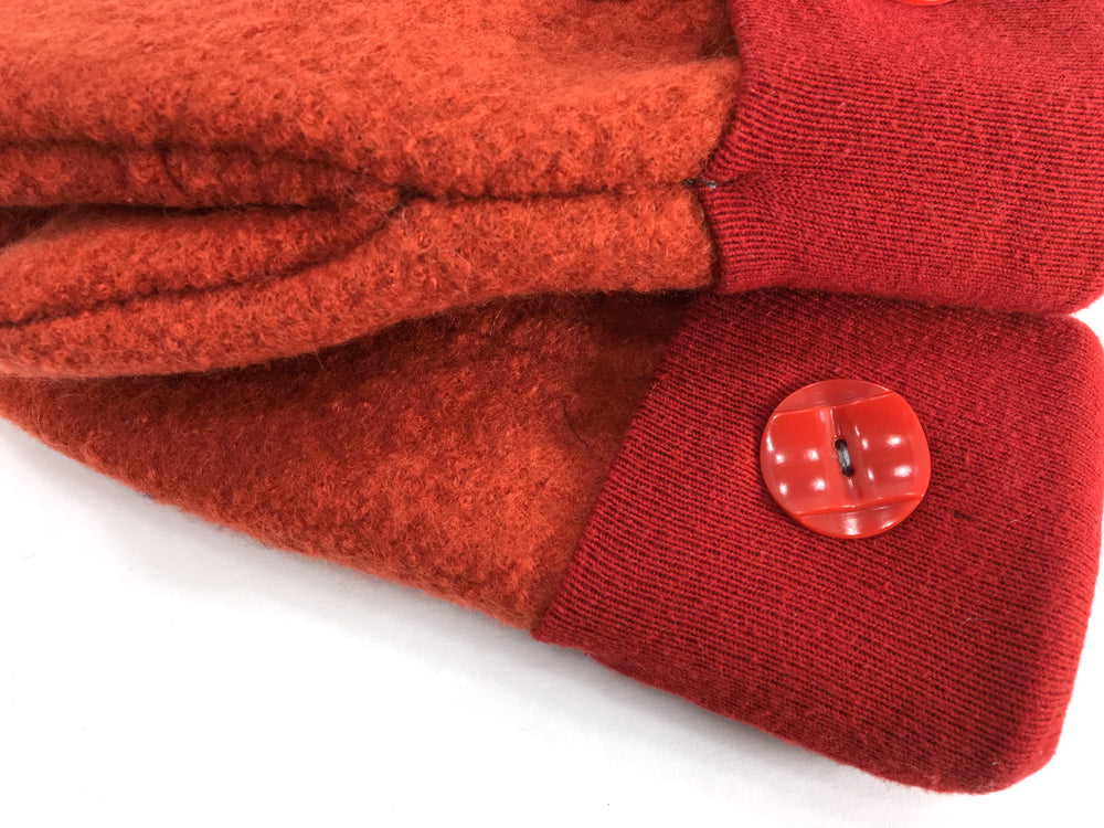 Orange-Red Boiled Wool Mittens - Medium - 1646