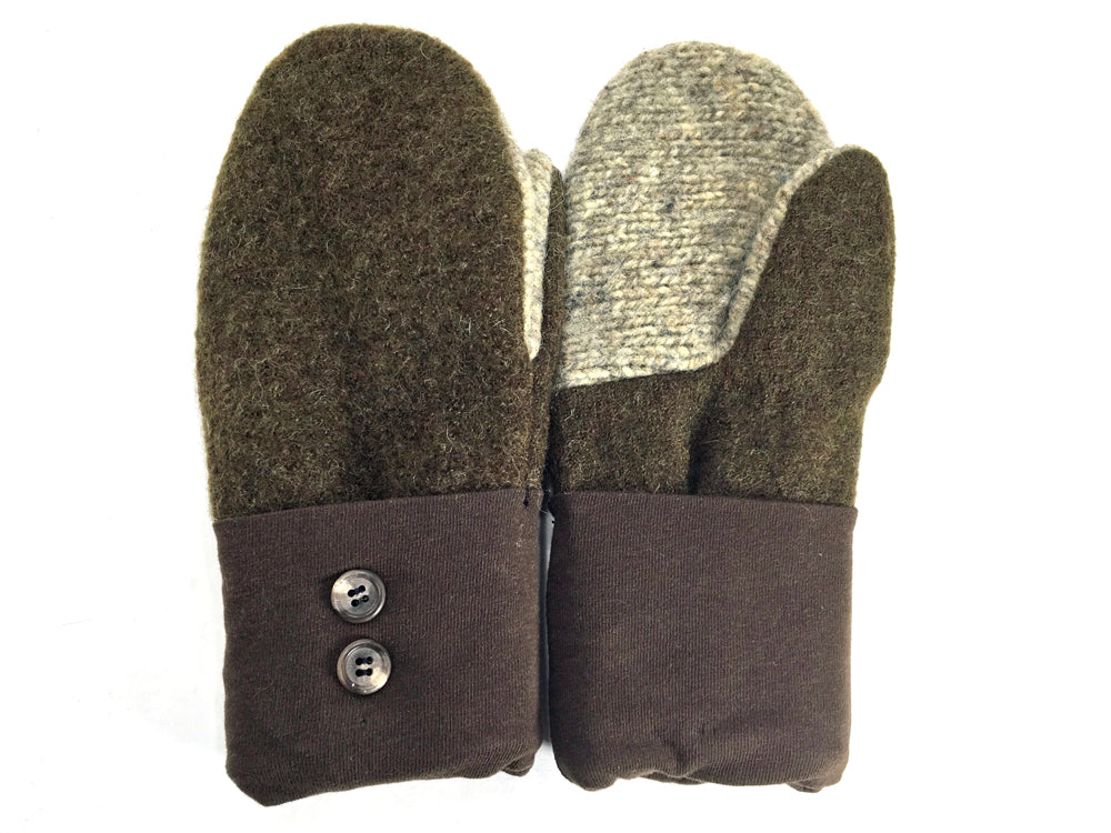 Green-Brown-Tan Boiled Wool Mittens - Medium - 1647-Womens-The Mitten Company
