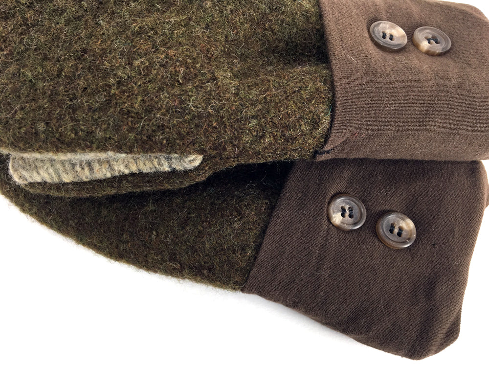 Green-Brown-Tan Boiled Wool Mittens - Medium - 1647