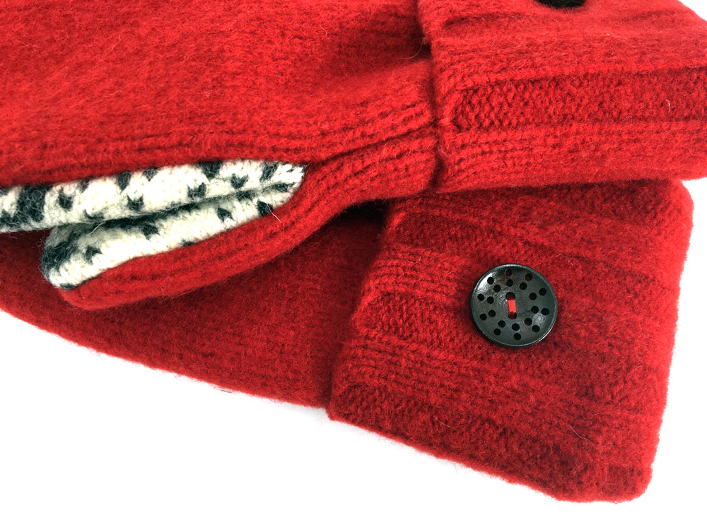 Red Boiled Wool Mittens - Medium - 1648