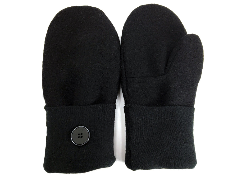 Black Boiled Wool Mittens - Medium - 1651 - The Mitten Company