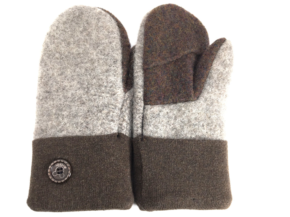 Brown-Gray Boiled Wool Mittens - Medium - 1652-Womens-The Mitten Company