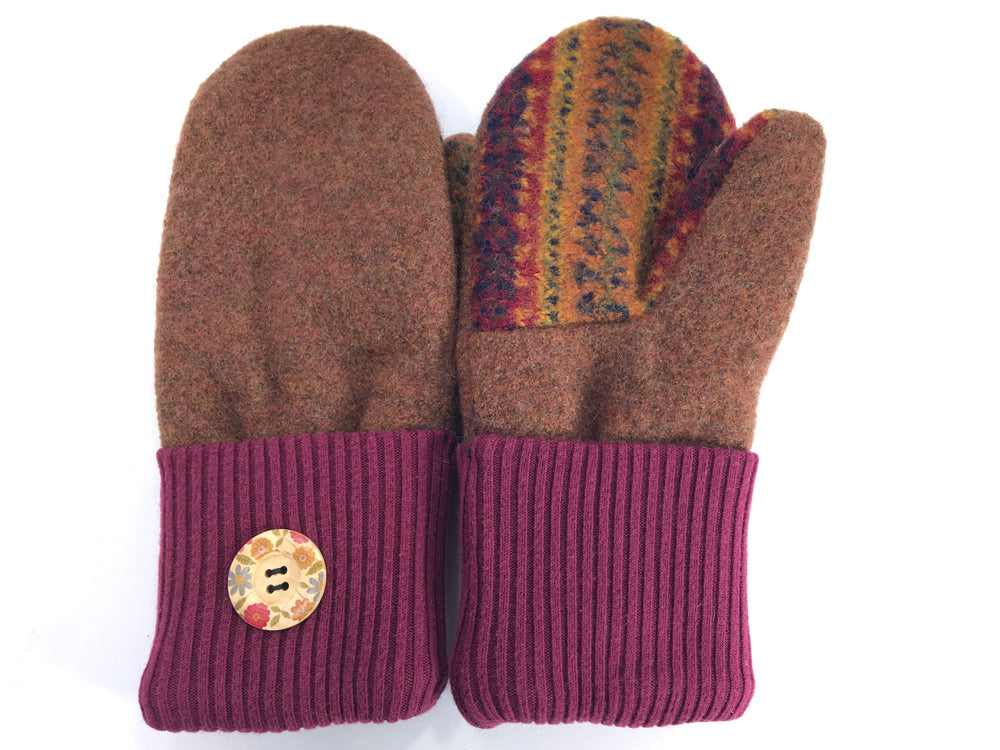 Brown-Burgundy Boiled Wool Mittens - Medium - 1653 - The Mitten Company