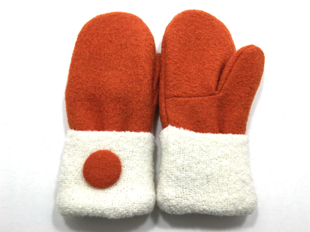 Orange-White Boiled Wool Mittens - Medium - 1656