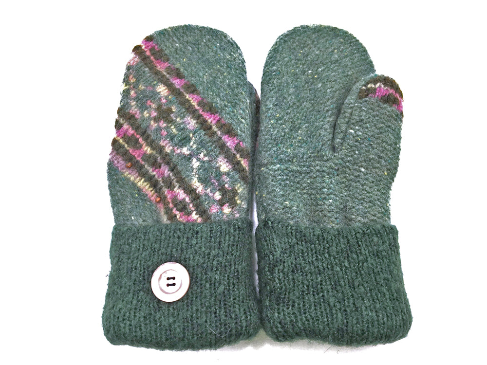 Green Shetland Wool Mittens - Medium - 1659