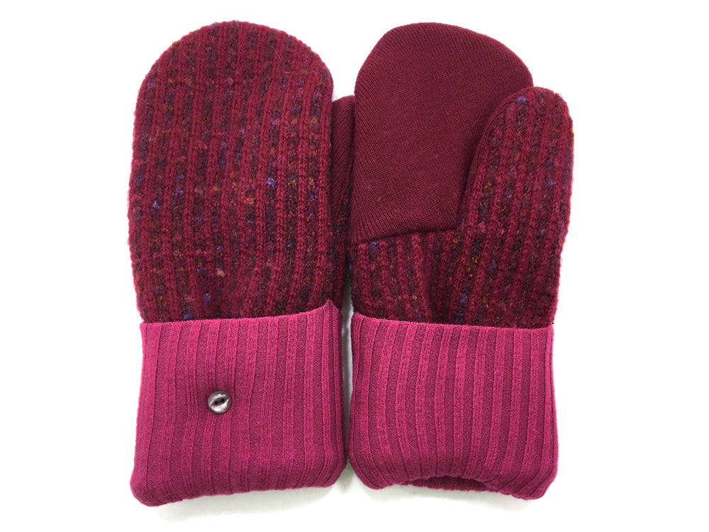 Red-Pink Shetland Wool Mittens - Medium - 1661