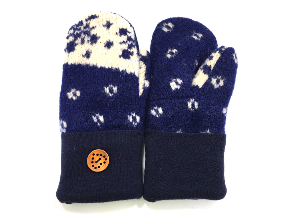 Blue-White Shetland Wool Mittens - Medium - 1662-Womens-The Mitten Company