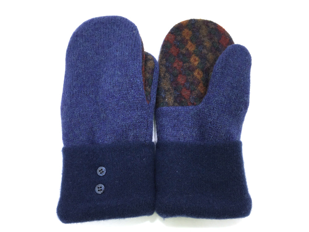 Blue-Brown Shetland Wool Mittens - Medium - 1664 - The Mitten Company