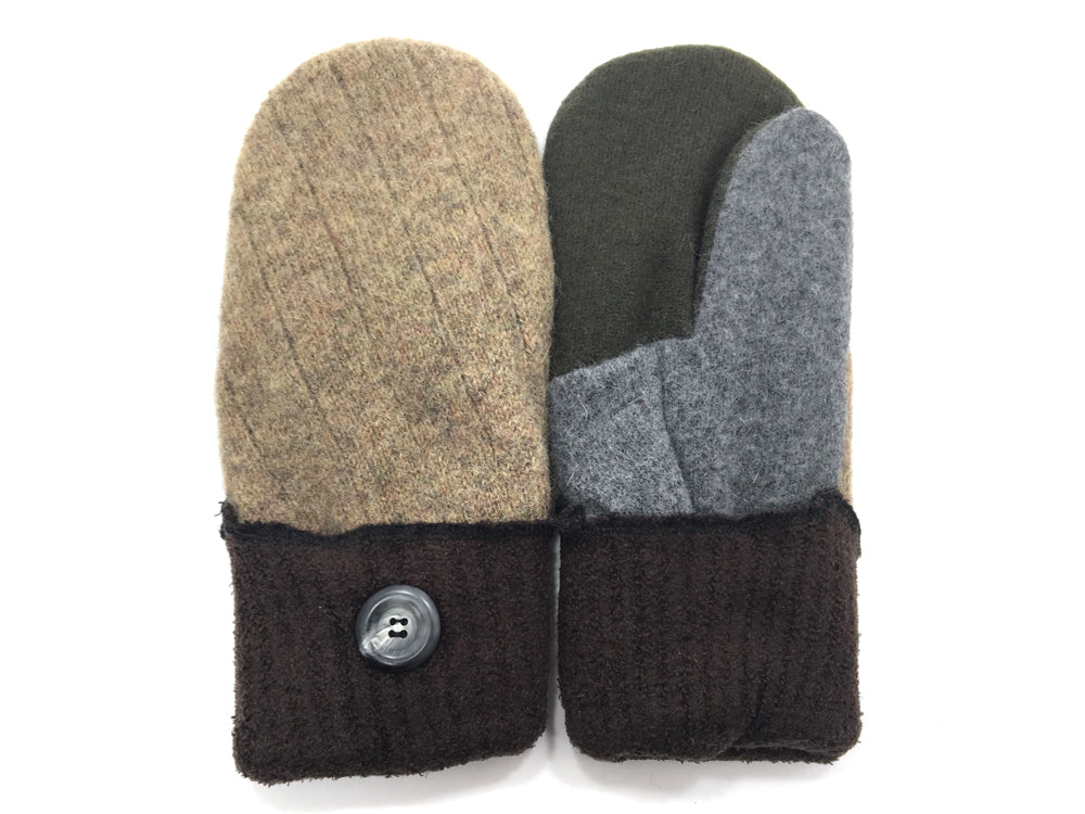 Brown-Gray Lambs Wool Mittens - Medium - 1676-Womens-The Mitten Company