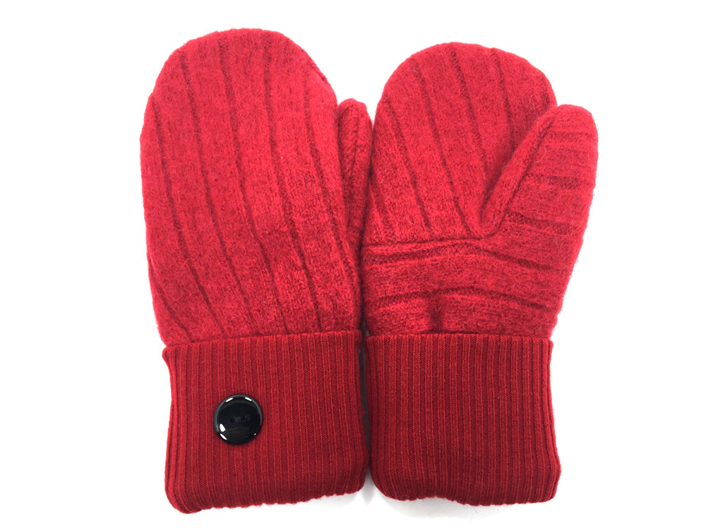 Red Lambs Wool Mittens - Medium - 1677