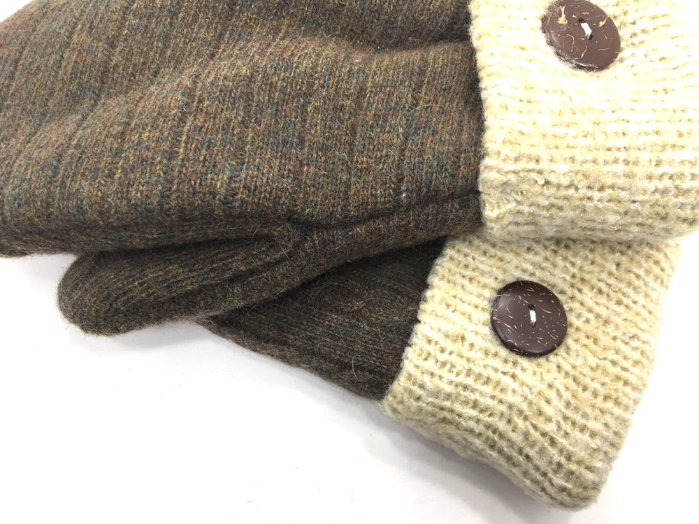 Brown-Tan Lambs Wool Mittens - Medium - 1680 - The Mitten Company