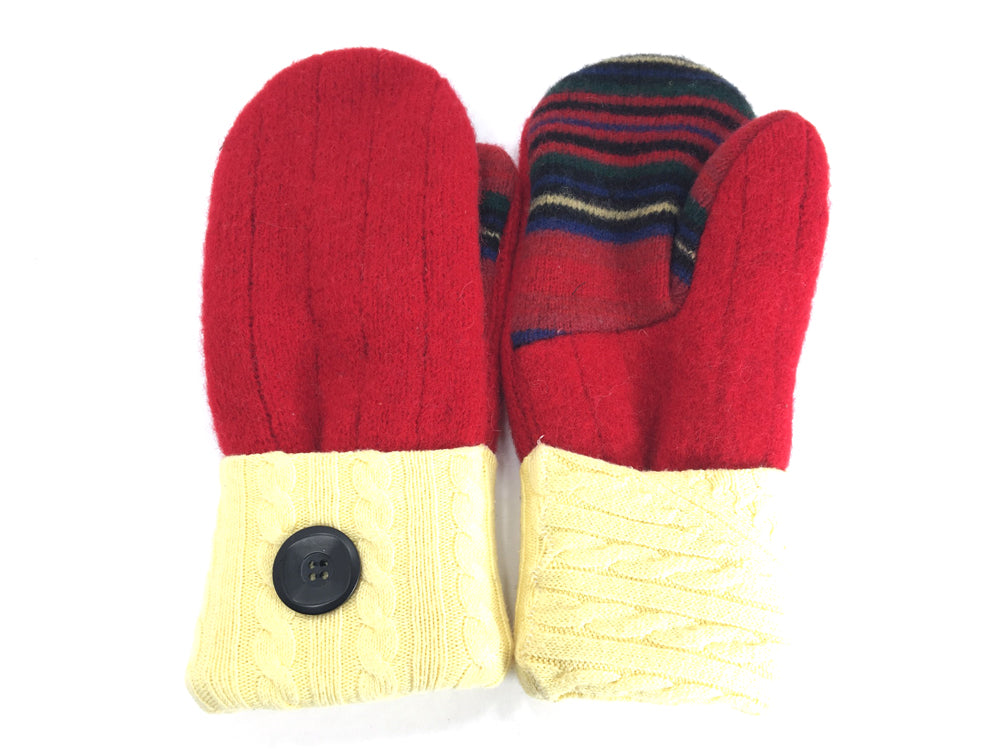 Red-Yellow Lambs Wool Mittens - Medium - 1681