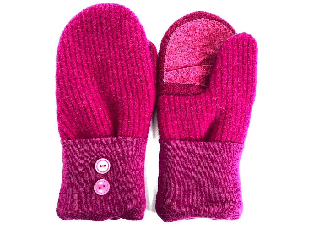 Pink Shetland Wool Women's Drivers Mittens - Medium - 1686